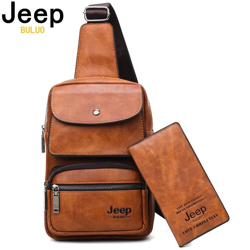 JEEP BULUO Brand Big Size Man's Travel Bag Men Bag 2pcs Set High Quality Split Leather Unisex Crossbody Sling Bag For iPad