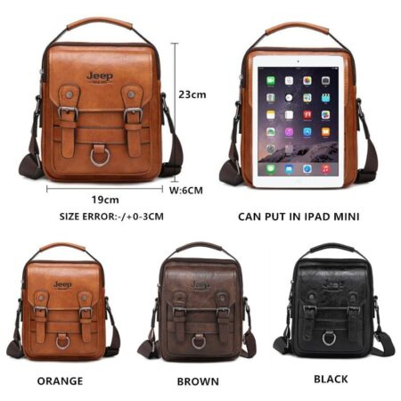 JEEP BULUO Brand New Man's Crossbody Shoulder Bag Multi-function Men Handbags Large Capacity Split Leather Bag For Man Travel 2